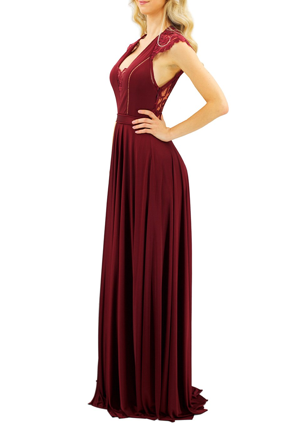 Catherine Deane Burgundy Lace-Paneled Satin Gown