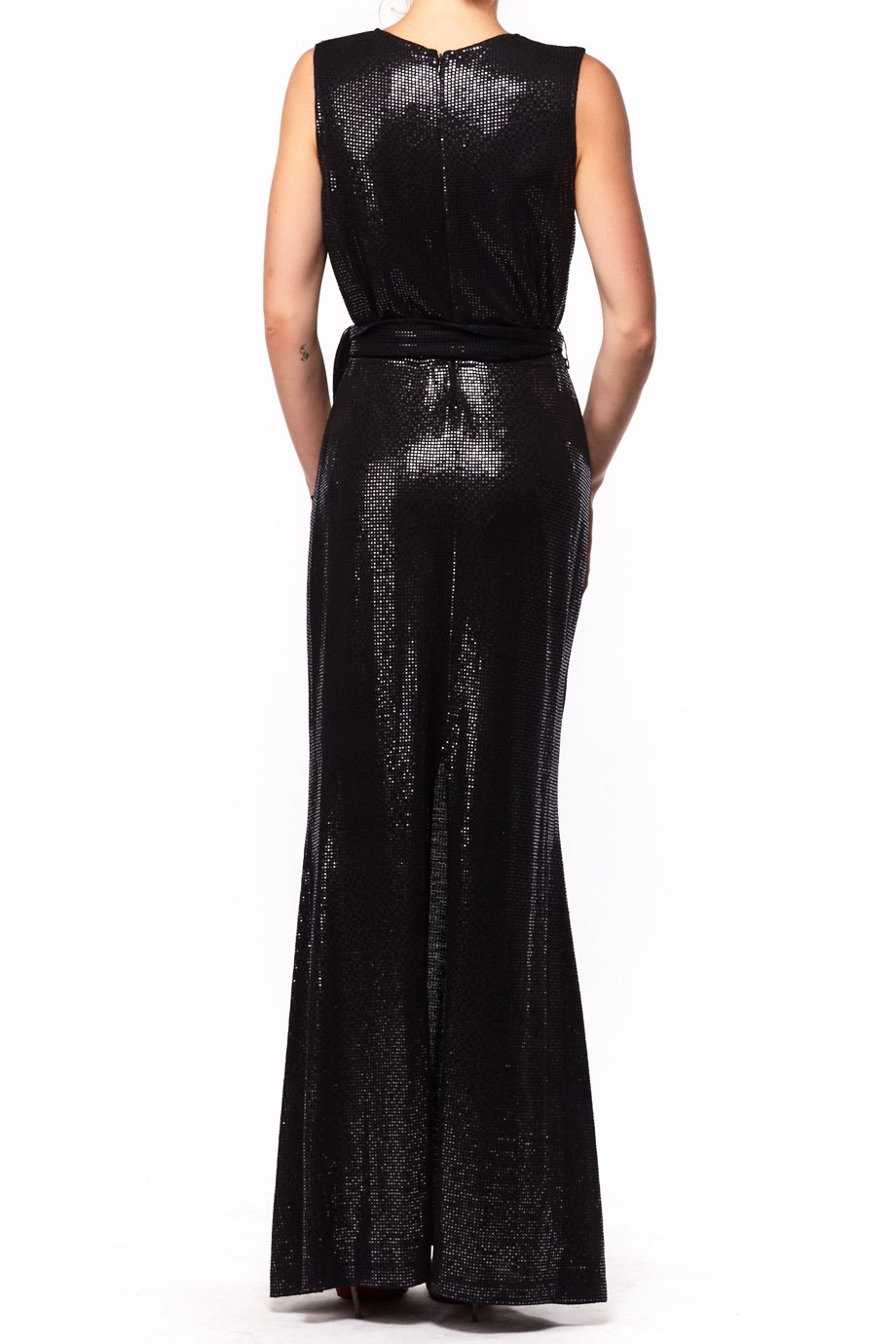 St John Black Halter Neck Dress with Silver Accents