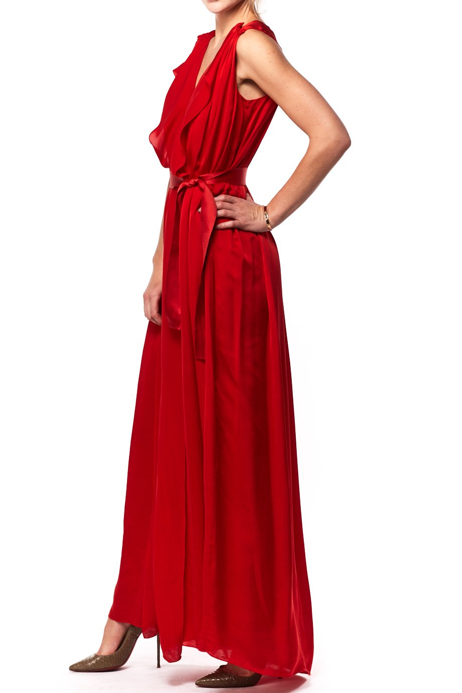 Carolina Herrera   Long Bright Red Sleeveless Silk dress