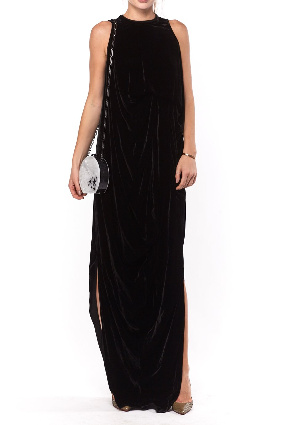 Rick Owens Black Double Slit Velvet Gown