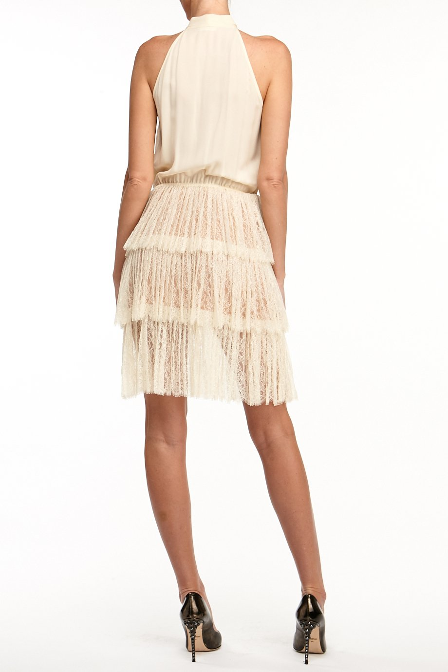 Michael Kors Ivory Halter Bow Tie Ruffle Skirt Dress