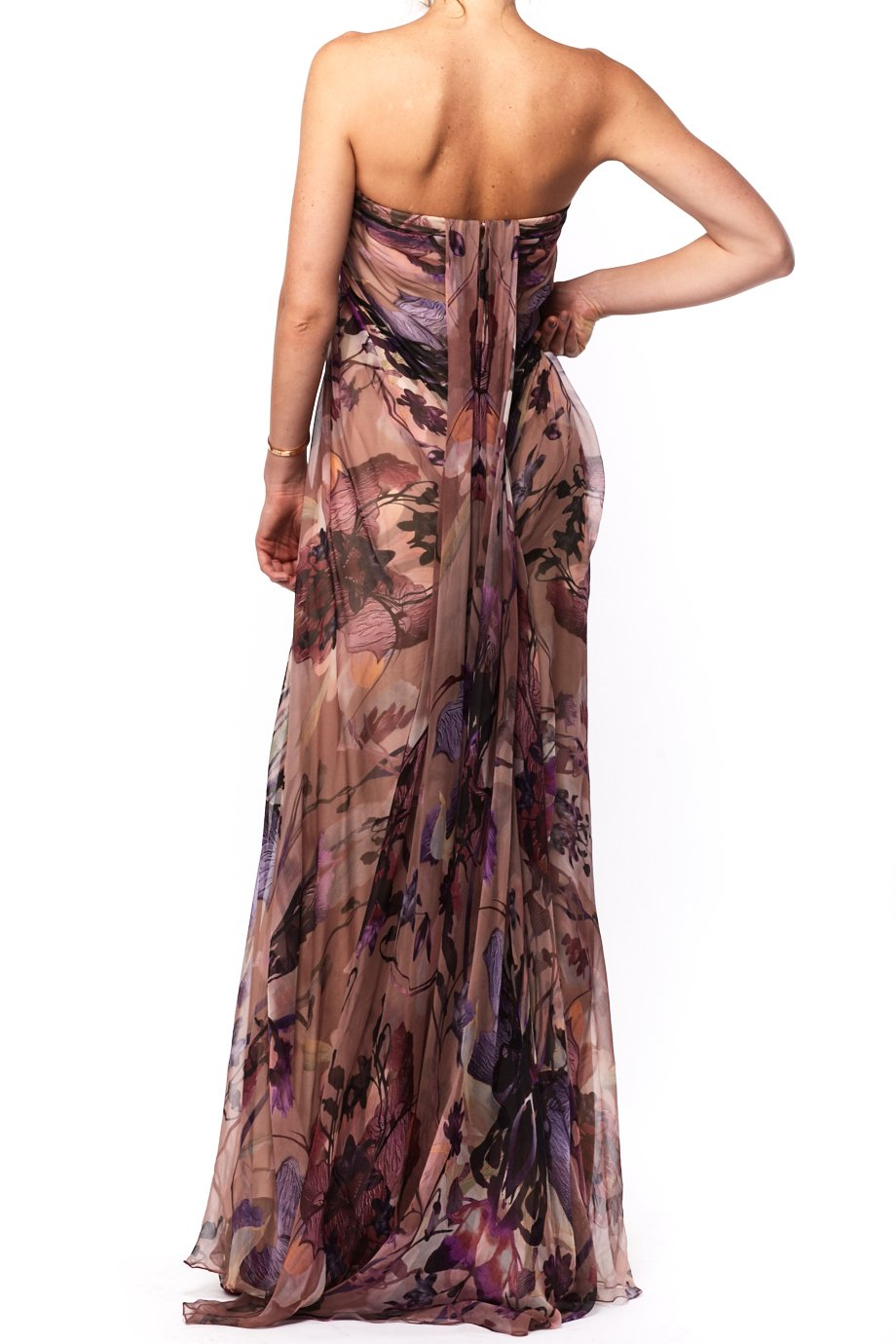 Alexander McQueen Pink and Purple Floral Silk Strapless Bustier Gown