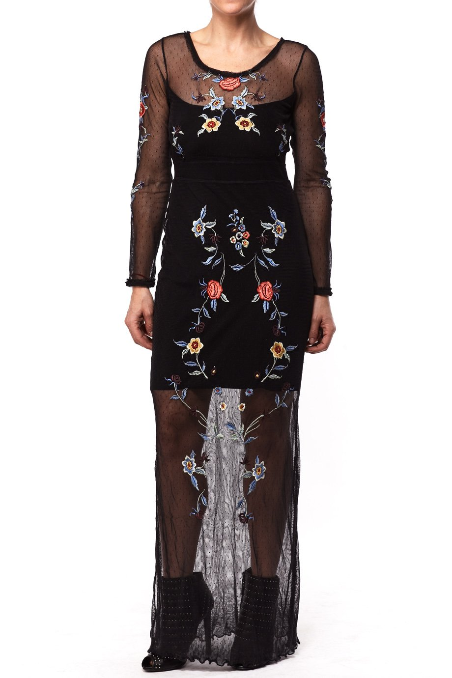 Free People Black Floral Interlace Mesh Maxi Dress