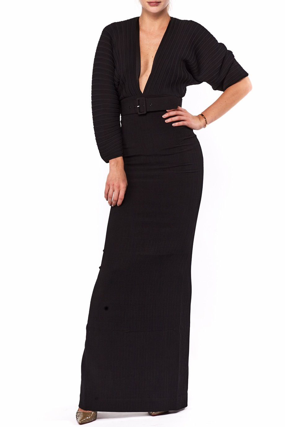 Solace London Black Chiffon Oxana Maxi Dress 715716