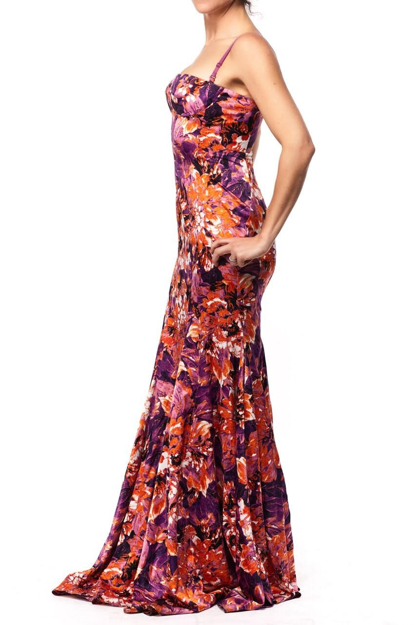 Just Cavalli Strapless Silky Long Floral Dress