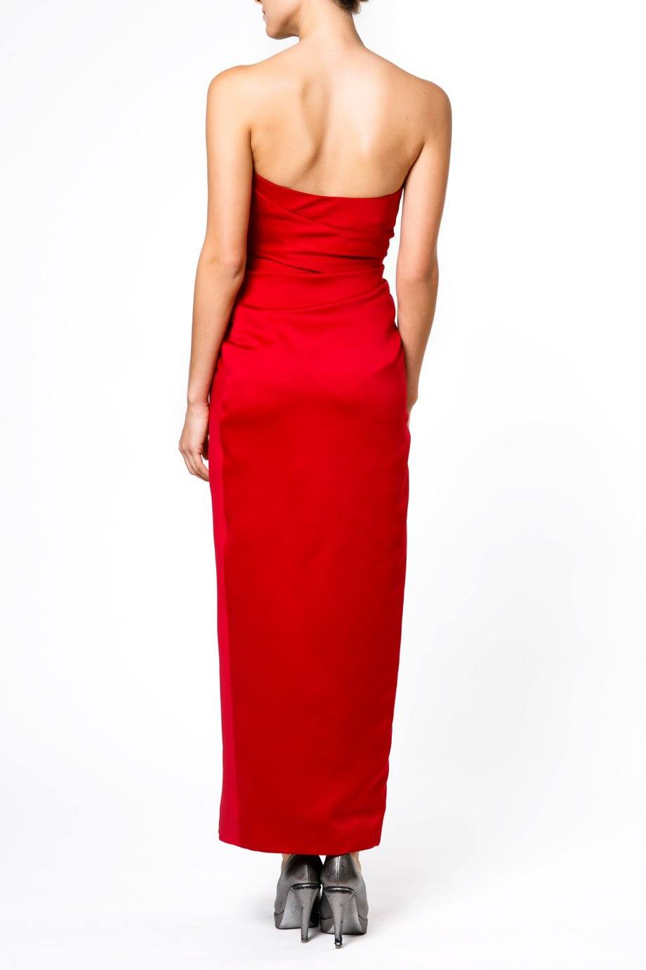Victor Costa Satin Red Strapless  Aplique Gown 302