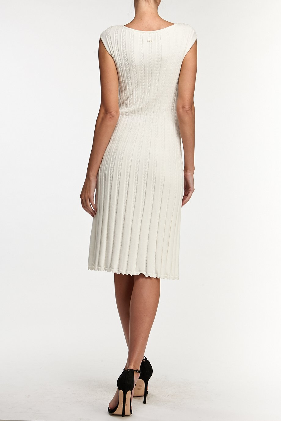 Carolina Herrera  Casual White Ribbed Knit Cocktail Dress