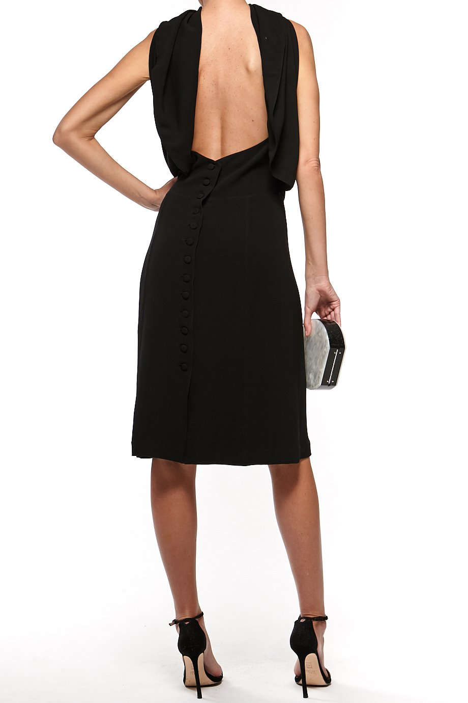 Fendi Black Lace Low Open Back Midi Cape dress