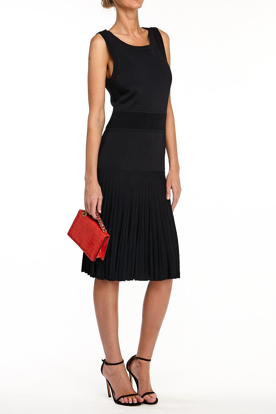 Carolina Herrera  Sleeveless navy blue pleated cocktail dress