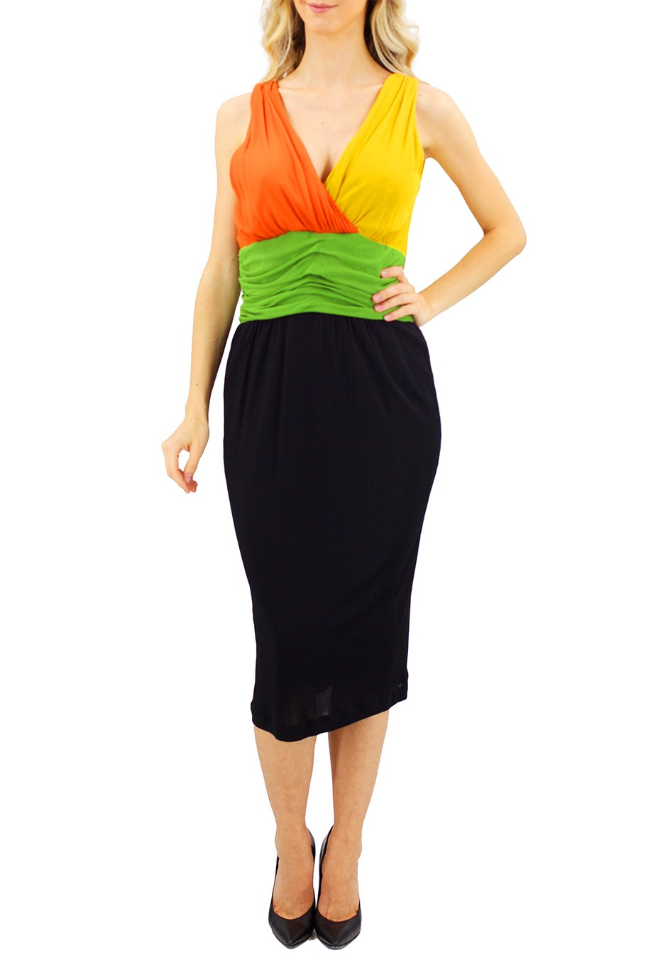 Louis Feraud Vintage sleeveless color block dress