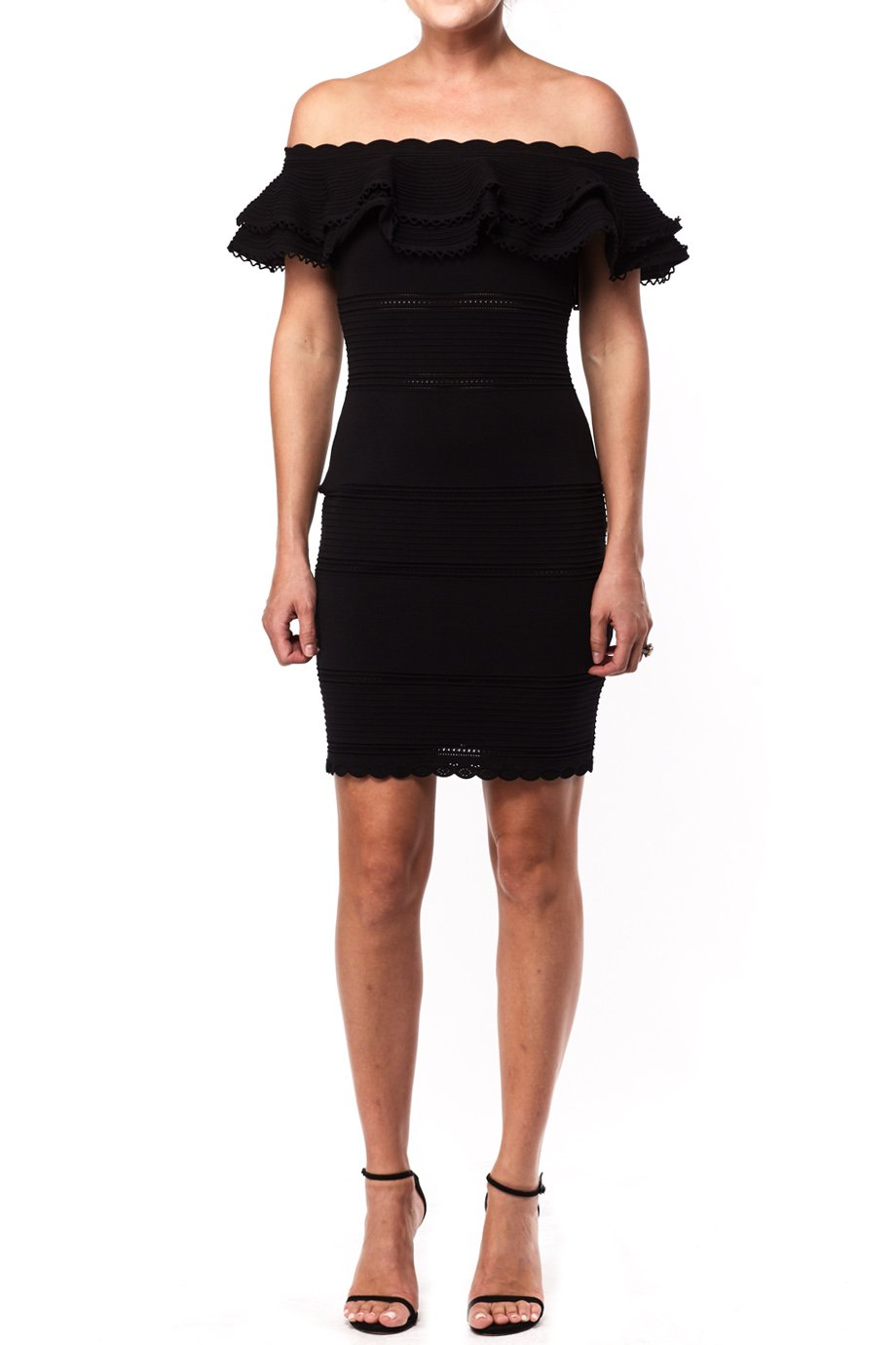 Alexander McQueen Black Off the Shoulder Fitted Cocktail Dress