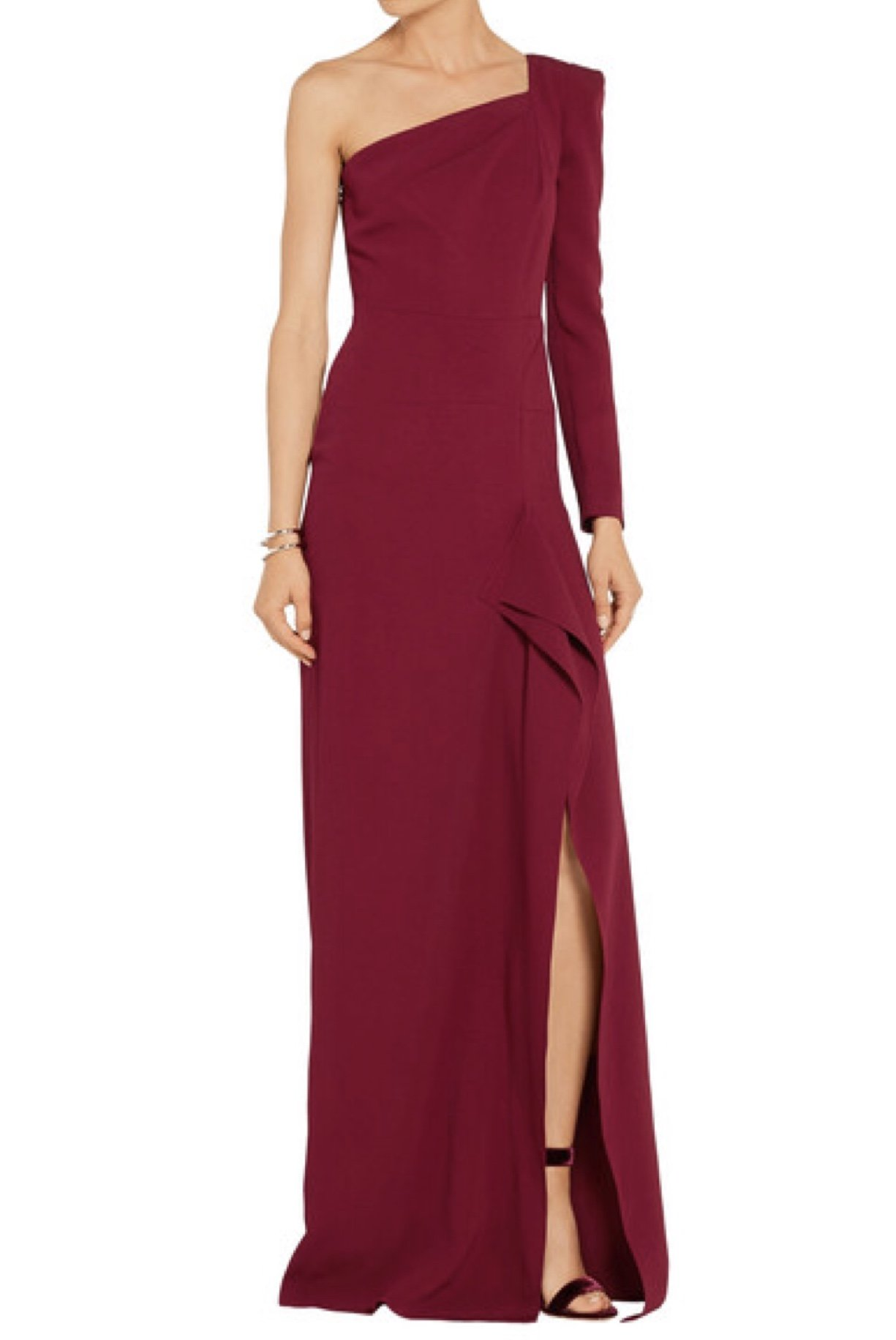 Roland Mouret Burgundy Red One Shoulder Galaham Gown