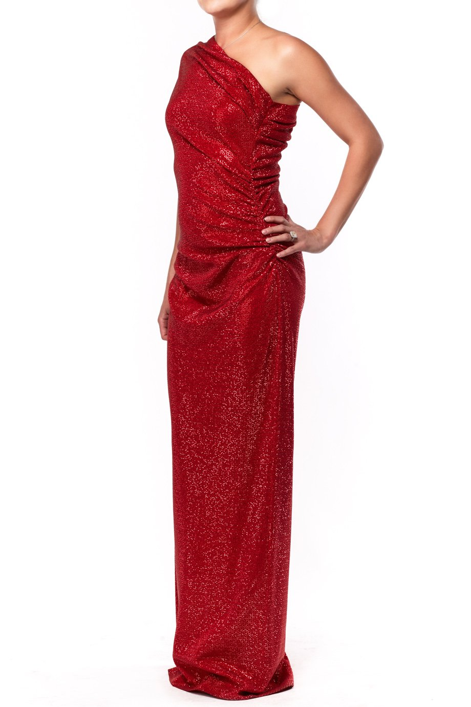 St John Red One Shoulder Shiny Evening Gown