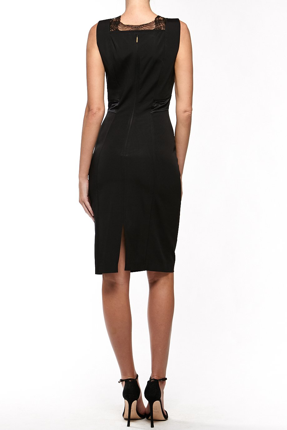 Roberto Cavalli Black Sleeveless V Neck Lace Cocktail Dress