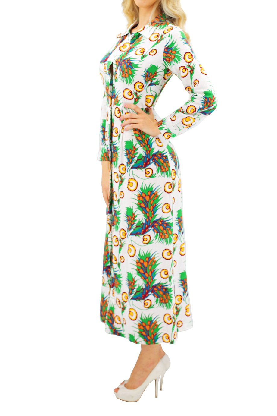 Maje Button Down Long Sleeves Floral Dress