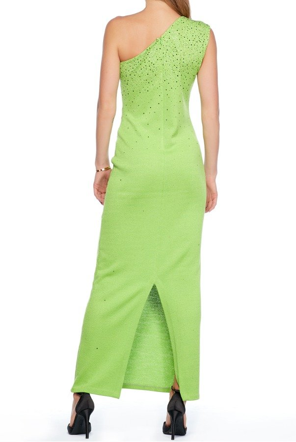 St John Lime Green Beaded Evening Dress