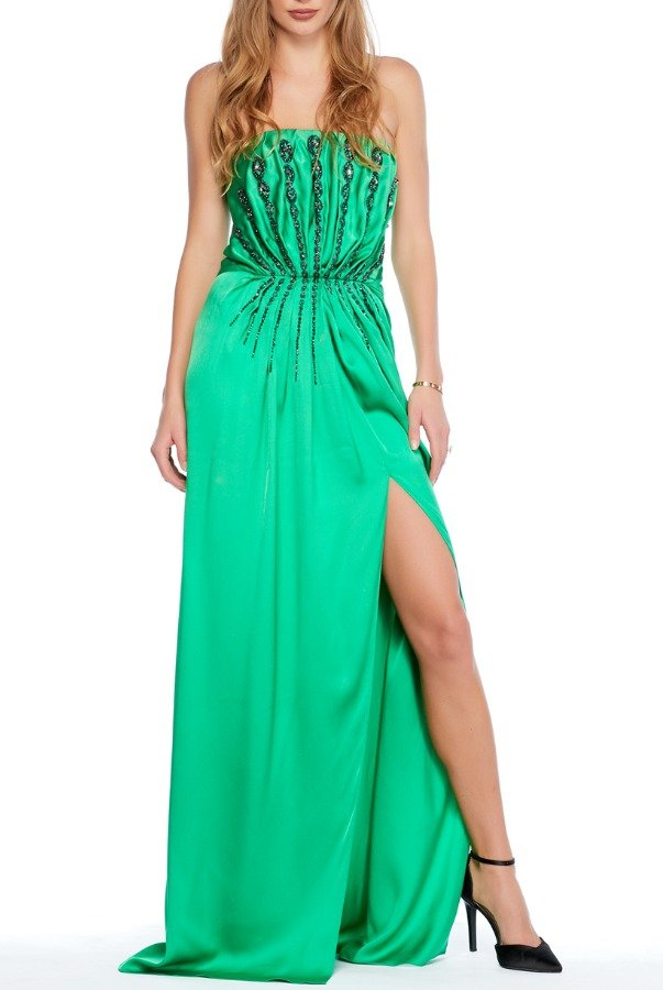 Saint Laurent Strapless Embellished Green Evening Gown w Slit