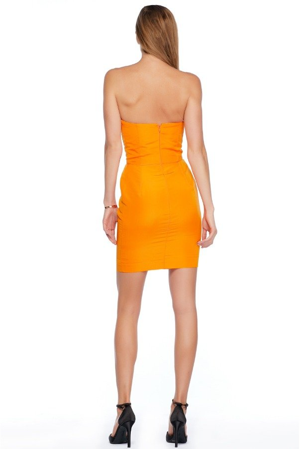Oscar de la Renta Orange strapless cocktail dress with a bow XS 0