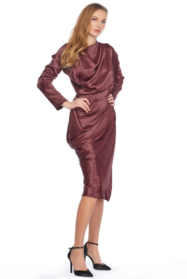 Vivienne Westwood Asymmetrical Draped Satin Burgundy Cocktail Dress