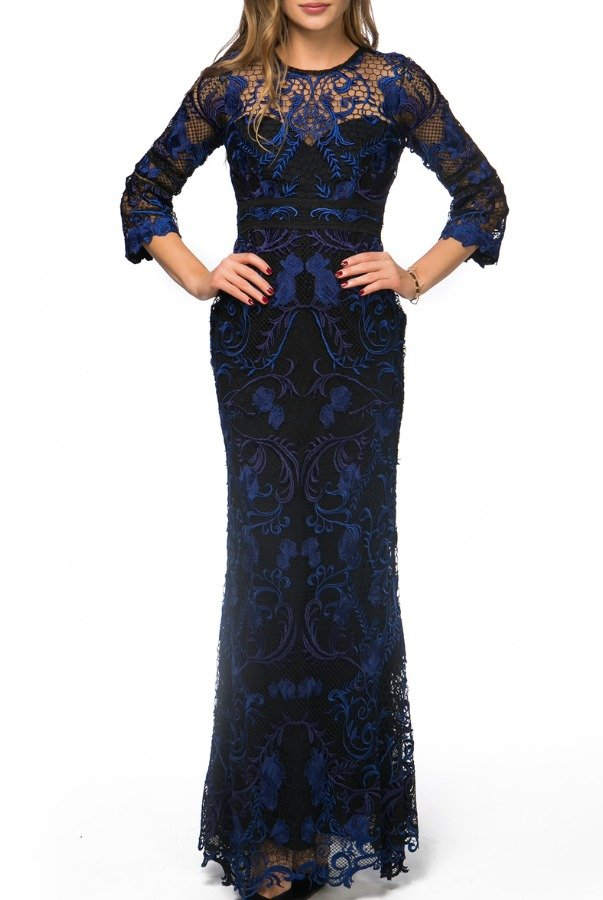 c06dc0c2ad824 Marchesa Notte Embroidered blue black
