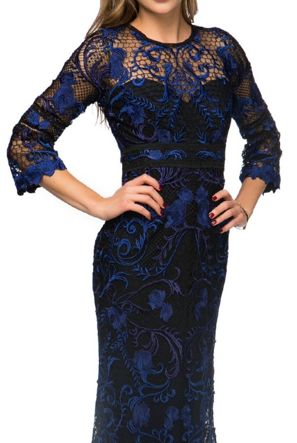 ef9929ef9d1d7 Marchesa Notte Embroidered blue black Marchesa Notte Embroidered blue black  ...