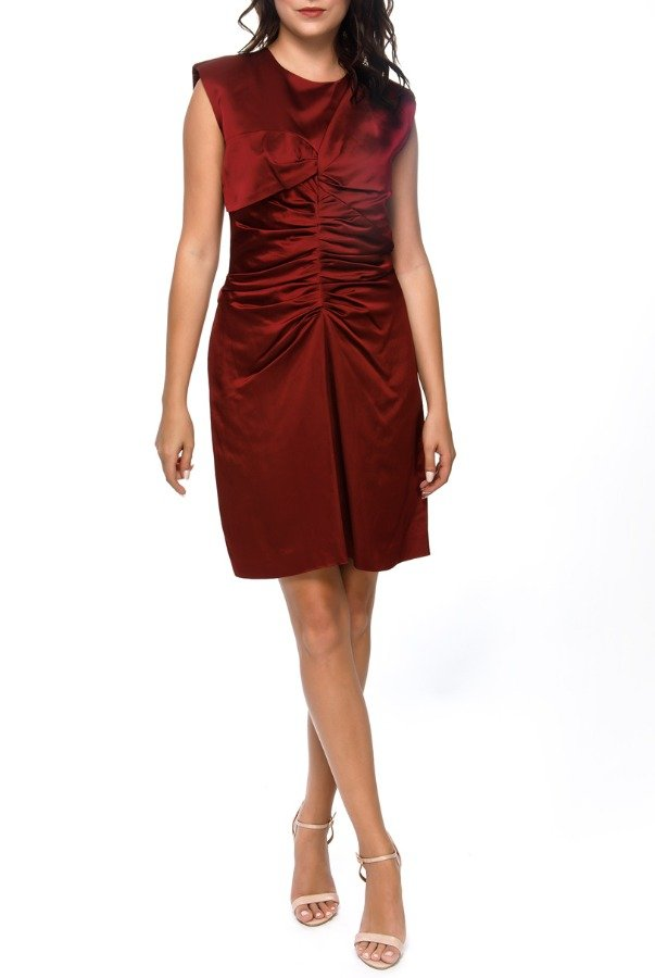 Isabel Marant Esta Merlot Red Satin Feminine Mini Dress