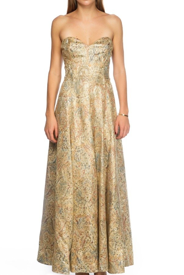 Victor Costa Vintage Floral Gold Strapless Gown Evening Dress