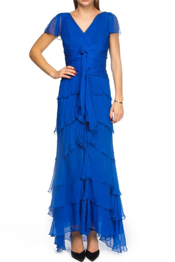 Oscar de la Renta Blue Ruffled Chiffon Dress