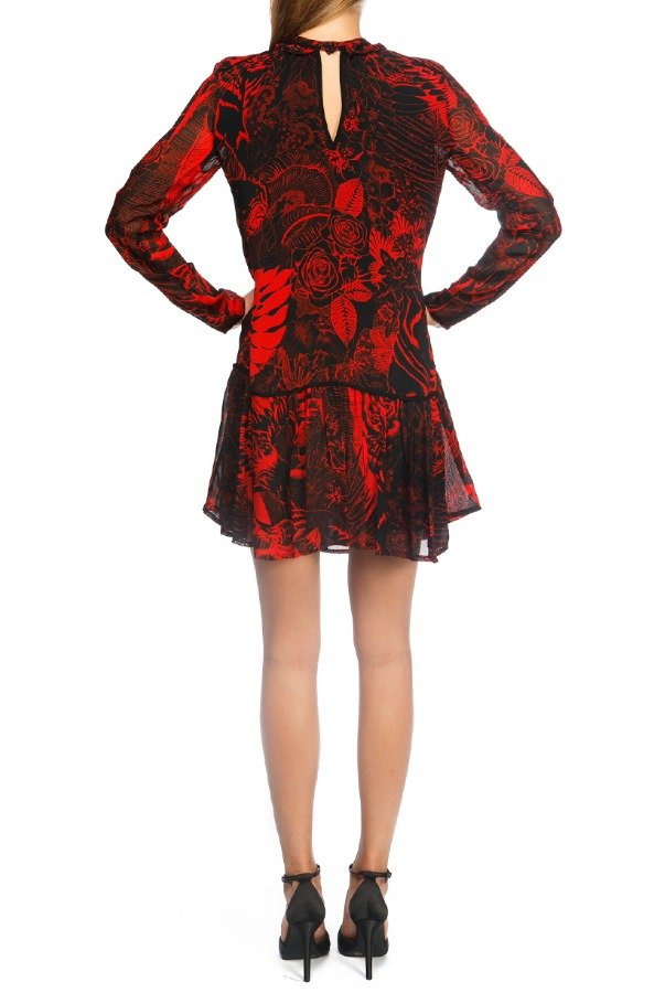 Just Cavalli Long Sleeve Red and Black Floral Cocktail Dress