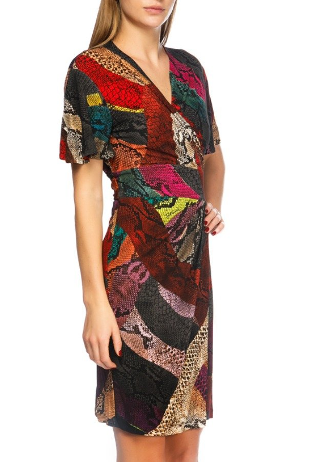 Just Cavalli Animal Print Multicolor Jersey Dress