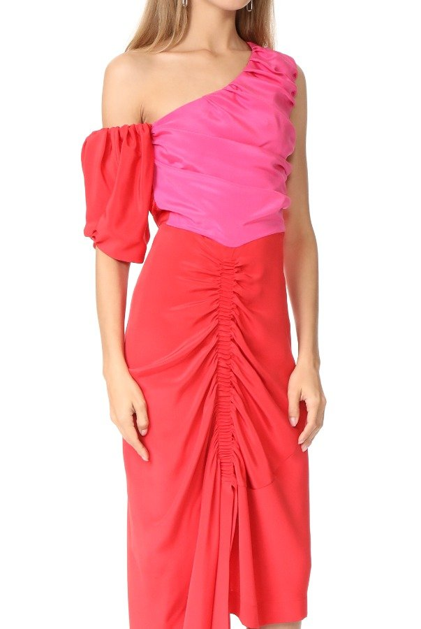 Preen By Thornton Bregazzi Red Pink Colorblock Off Shoulder Nicole Dress
