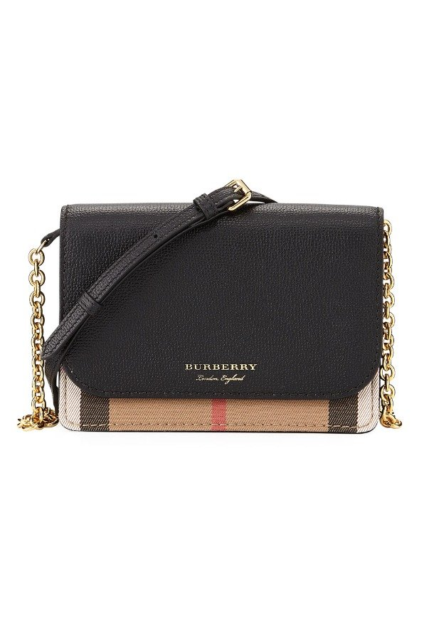 Burberry Hampshire Check Leather Wallet On A Chain