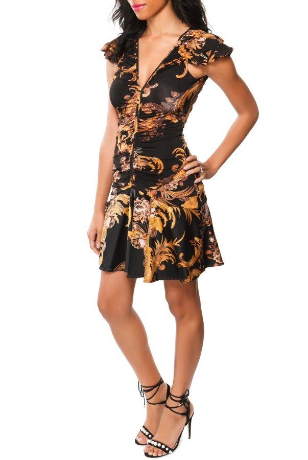Just Cavalli Gold Feather Print Cap Sleeve Mini Dress