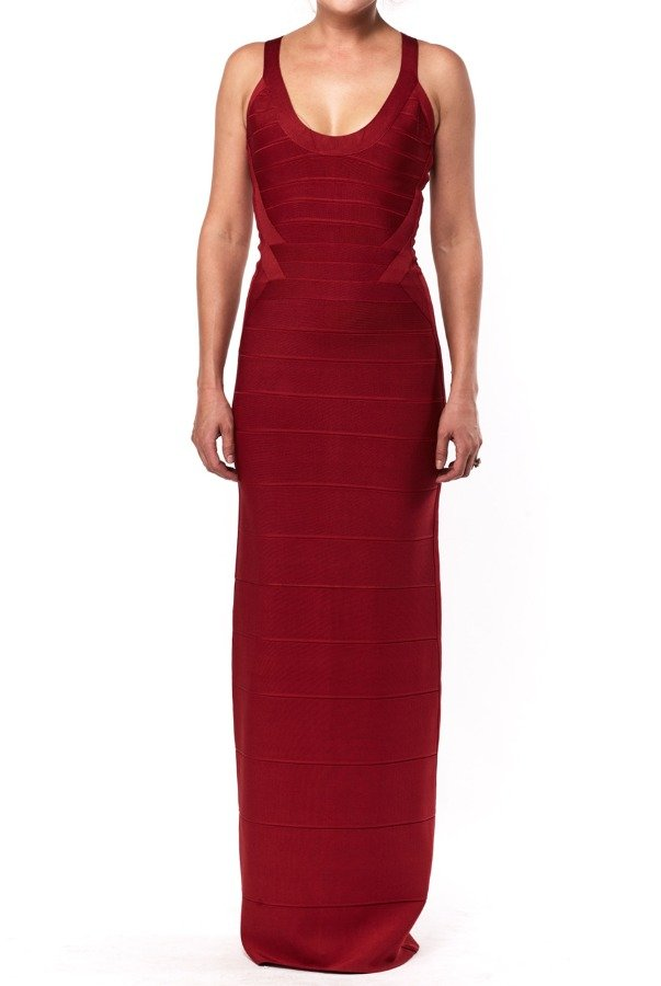 Herve Leger Scarlet Red Long Bandage Dress Gown HLT6L578