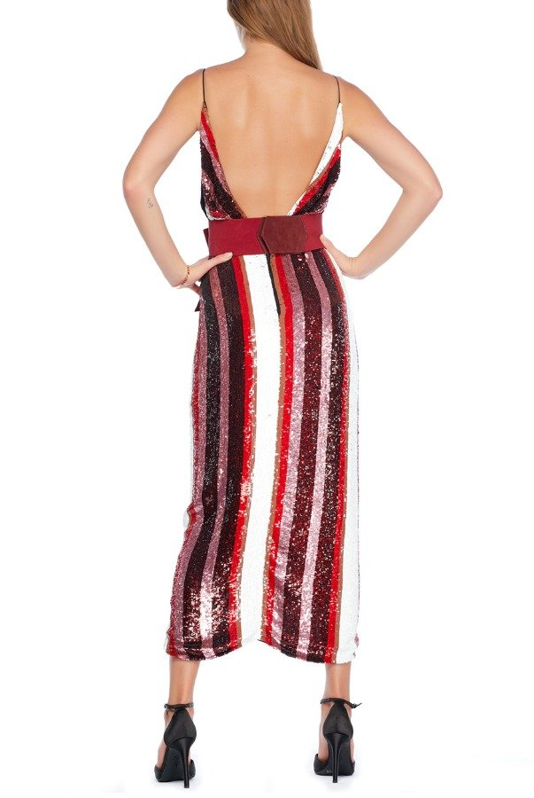 Johana Ortiz Huckleberry Red Sunset Striped-Sequin Dress
