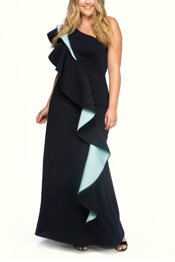 Nero by Jatin Varma Blue and Black Ruffle Wave One shoulder Dress