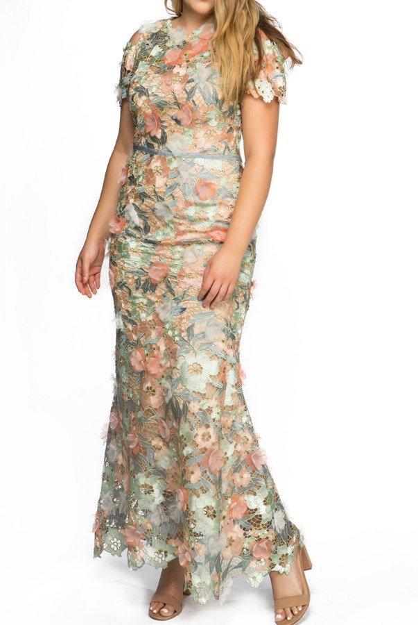 Marchesa Notte Pastel Off Shoulder 3D Flower Lace Evening Gown
