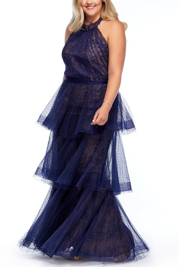 Marchesa Notte Navy Tiered Halter with Lace Trim Gown