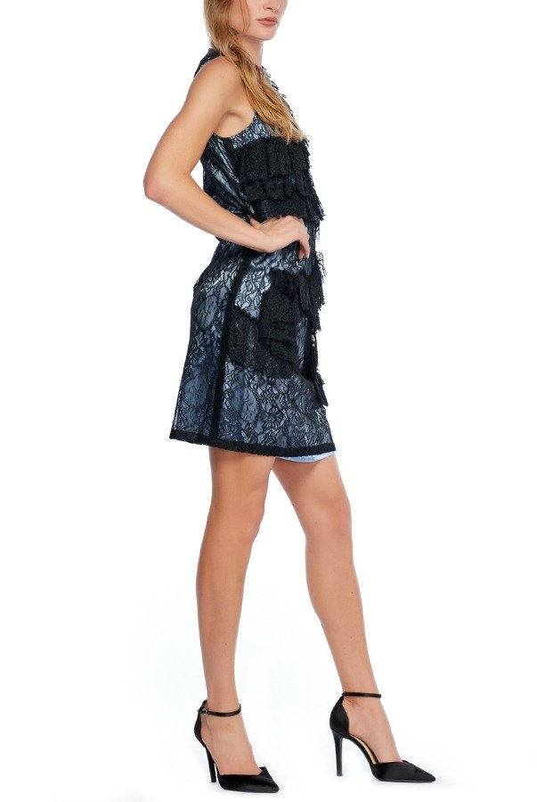Givenchy Black and Blue Floral Lace Ruffle Dress
