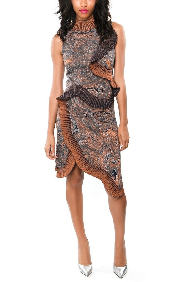 Lanvin Earthy Abstract Printed Asymmetrical Ruffled Dress
