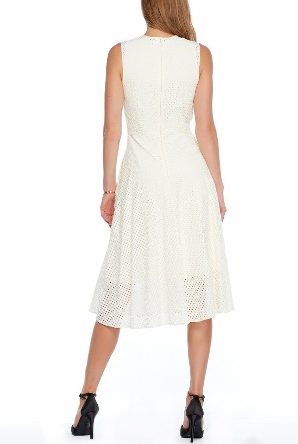 Erdem Crocheted Style Embroidered Palm Ivory Dress