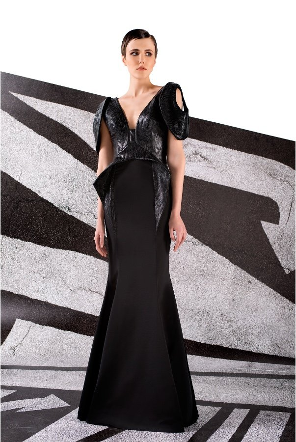 John Paul Ataker Black Stretch Faille V Neck Leatherette Gown