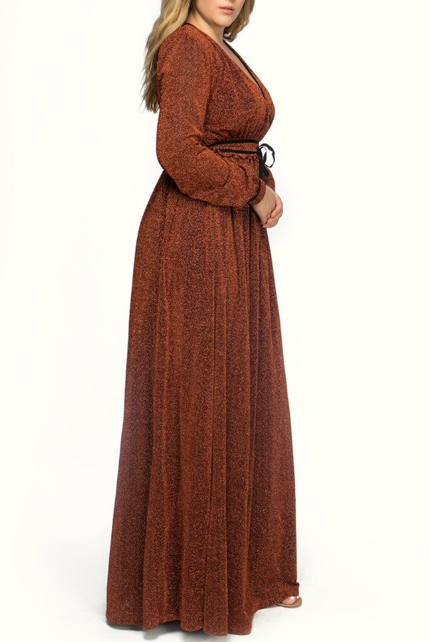 Just Cavalli Terracotta Crepe Long Sleeves Dress