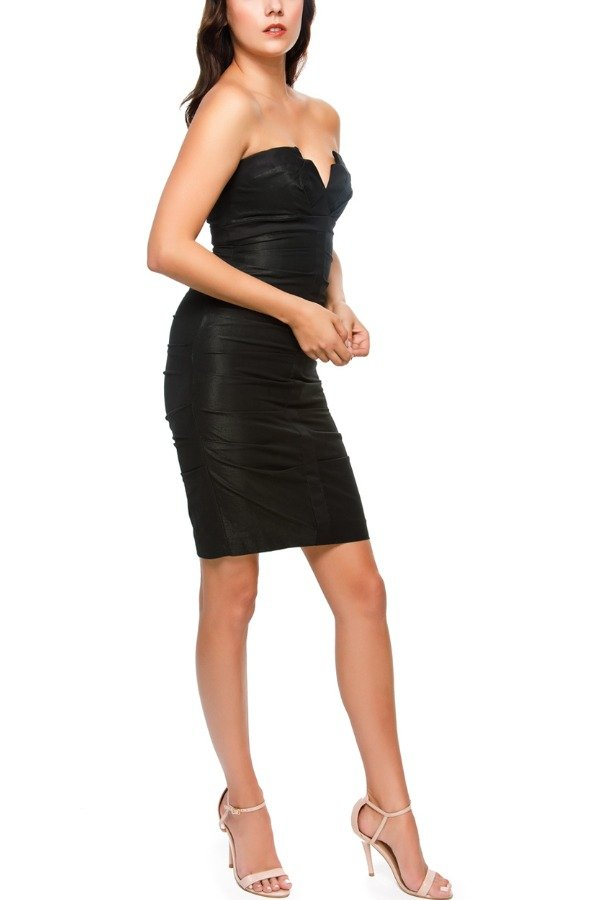 Nicole Miller Short Black Sweetheart Neck Line Crunch Dress