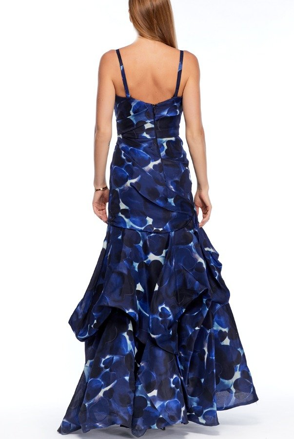 Monique Lhullier Blue Silk Gown with Heart Stamps