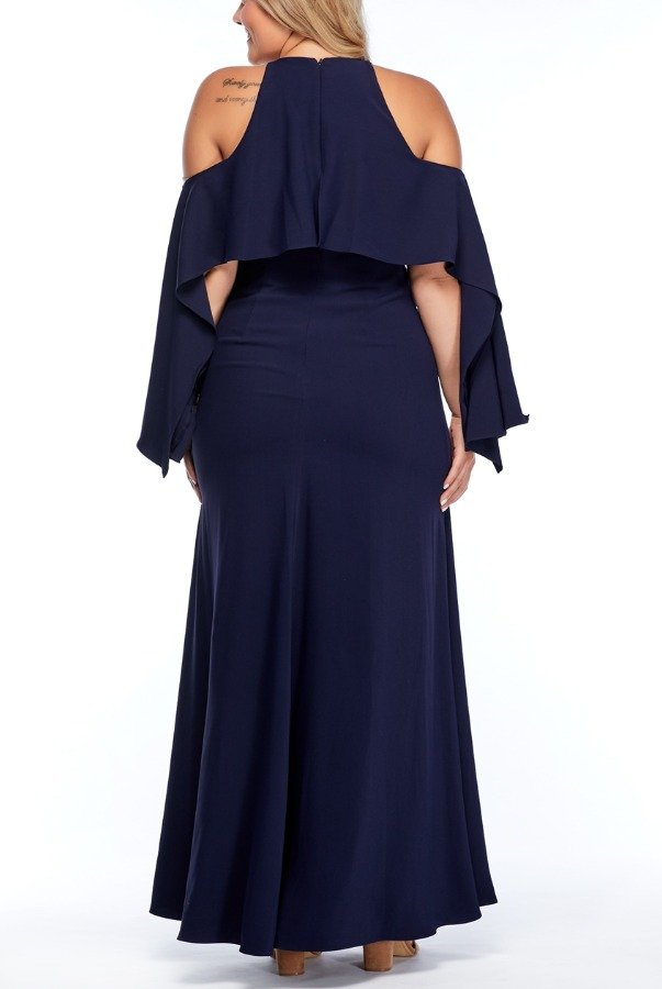 Mikael Aghal Navy Blue Cold Shoulder Long Sleeve Flare Dress