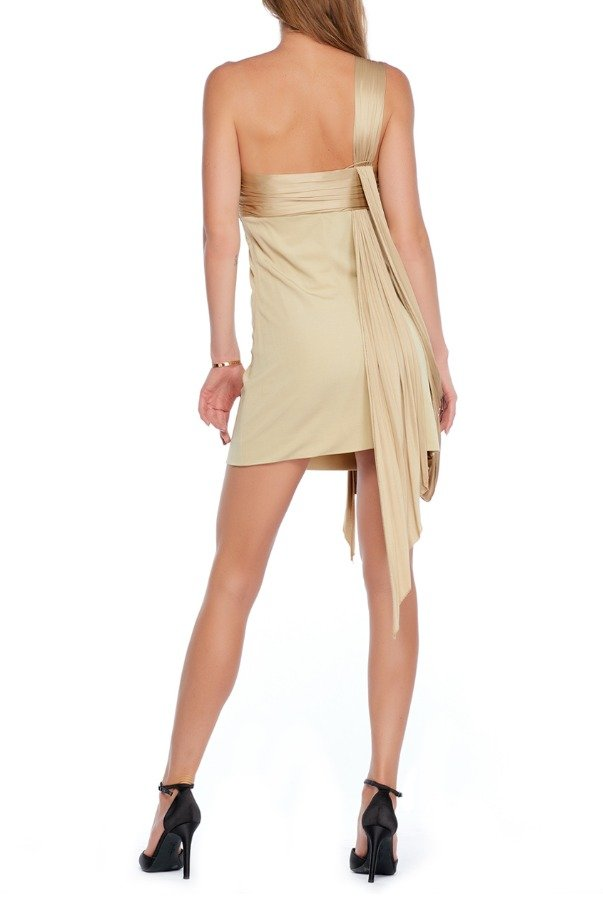 Hermes Camel Beige One Shoulder Draped Mini Dress