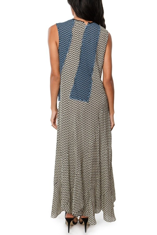 Derek Lam Blue and Black Abstract-Print Georgette Dress