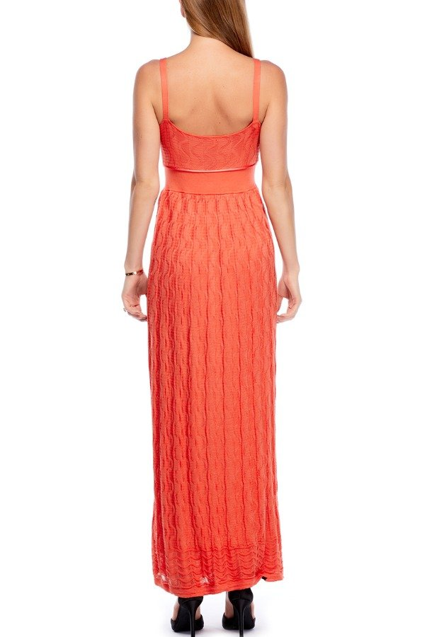 Missoni Long Coral Orange Maxi Knitted Dress