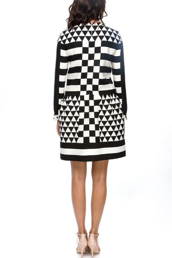 Valentino Retro Geometric Printed Long Sleeve Dress
